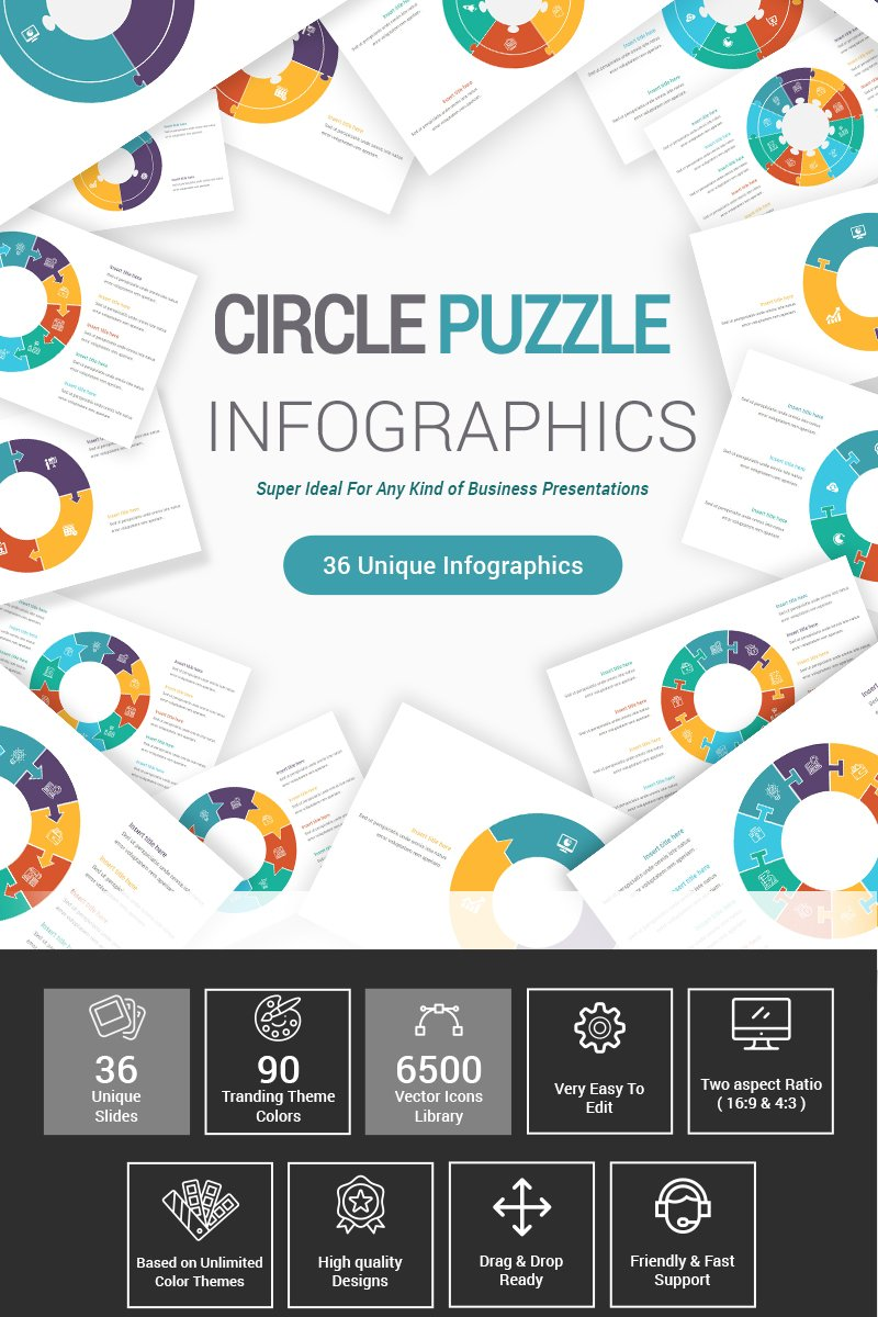 "Template PowerPoint #87406 ""Circle Puzzle Infographics Diagrams"""