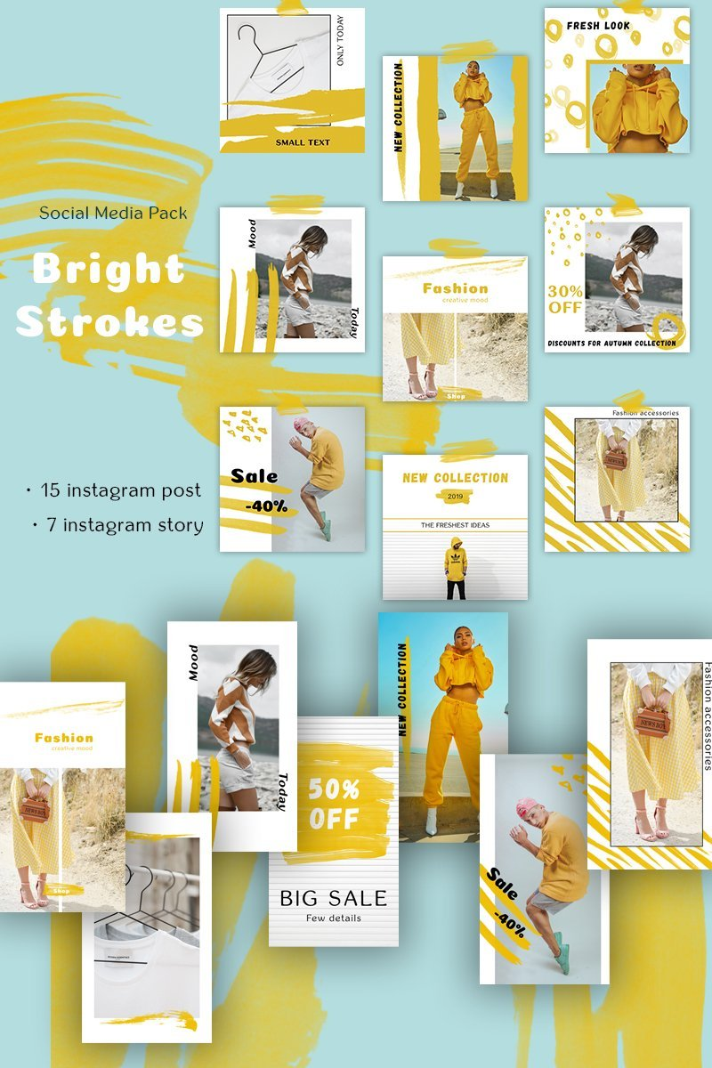 "Template Social Media #87463 ""Bright Strokes - Pack"""