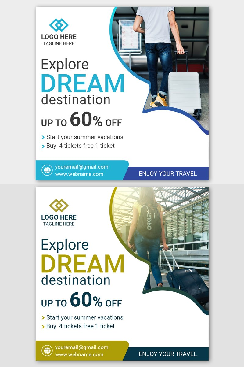 Travel square post banner template Mídia Social №87418