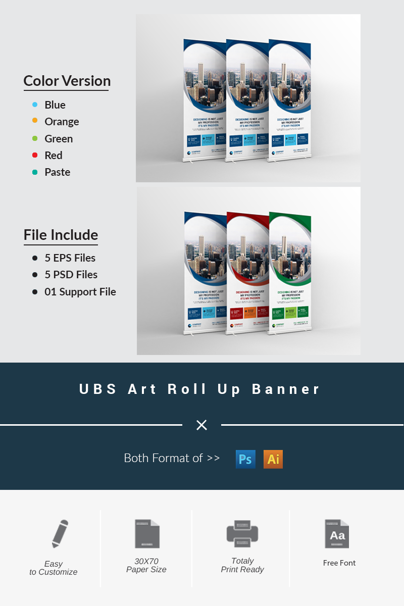 UBS Roll Up Banner Corporate Identity Template