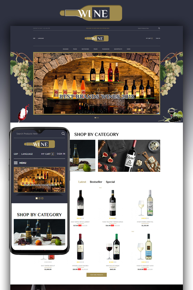 """Wine Store"" Responsive OpenCart Template №87445"