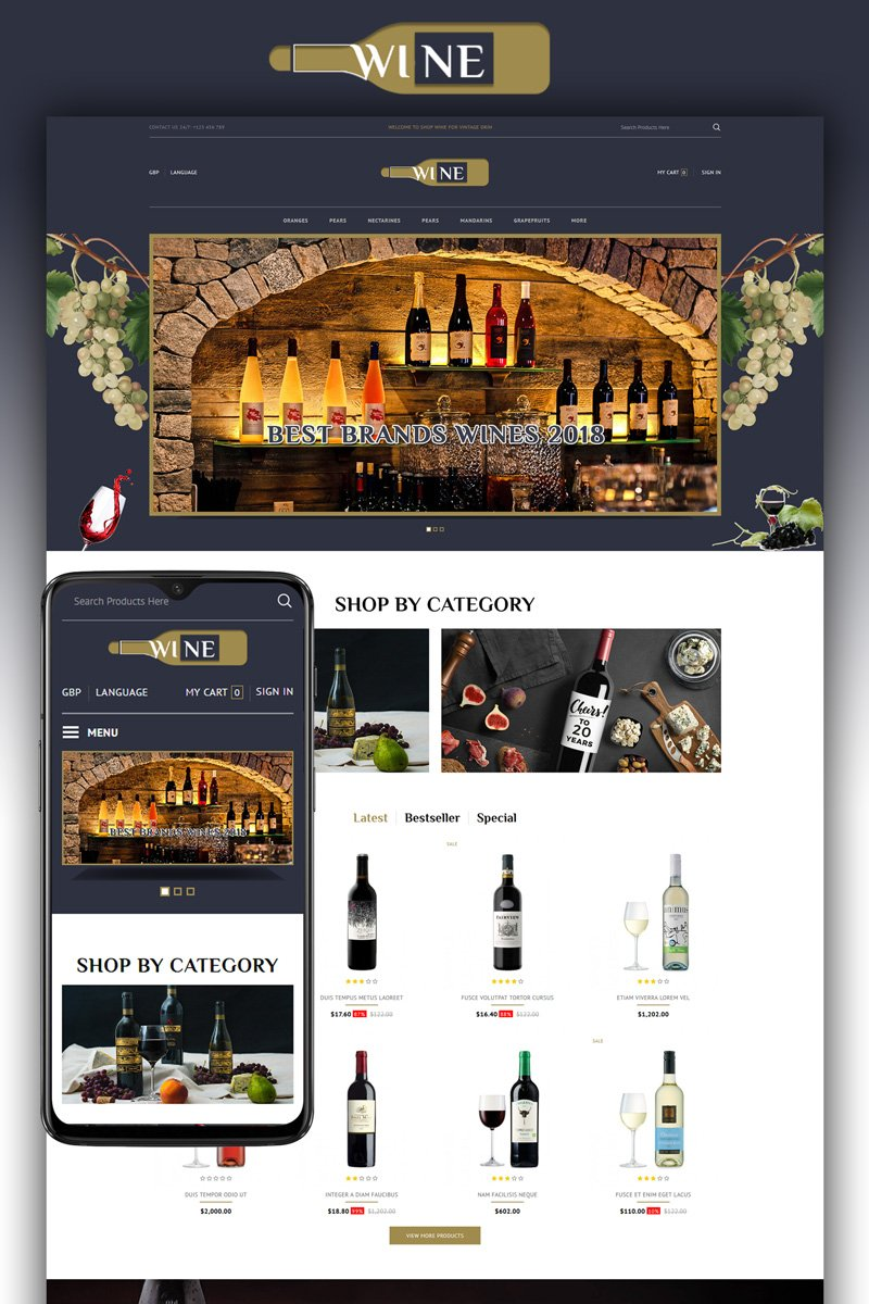 Wine Store Template OpenCart №87445