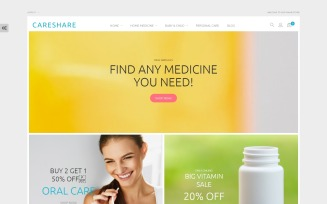 CareShare - Medicine Online Website Magento Theme