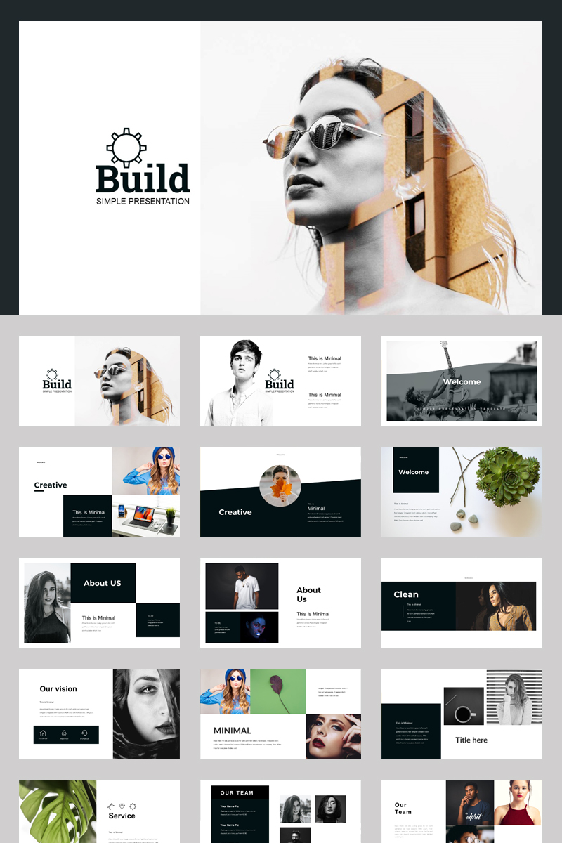 Black Build Corporate Presentation PowerPoint sablon 87587