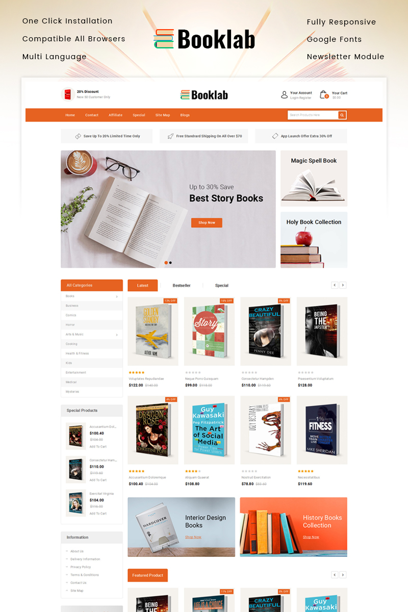 """Booklab - Books Store"" 响应式OpenCart模板 #87512"