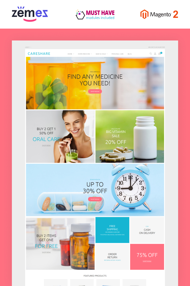 """CareShare - Medicine Online Website"" thème Magento adaptatif #87511 - screenshot"