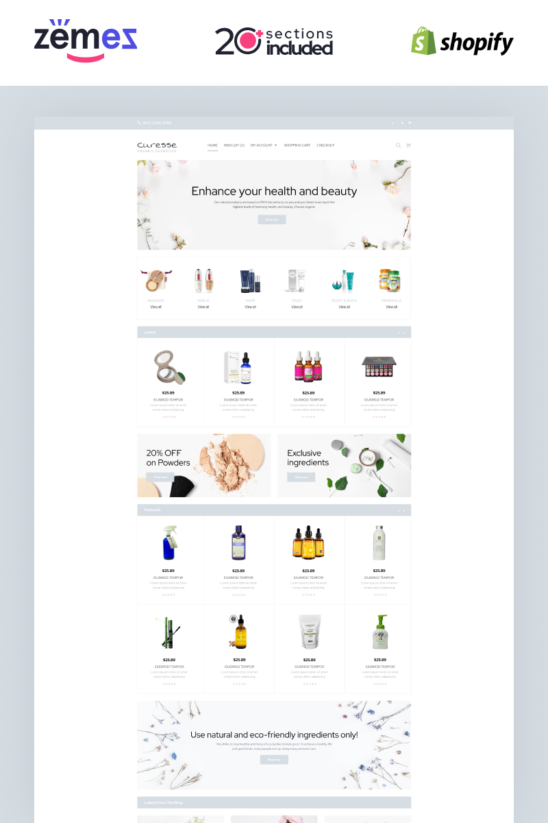 """Curesse - Spa Cosmetics Store"" Shopify模板 #87510"