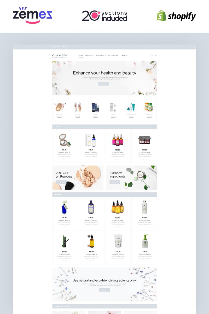 """Curesse - Spa Cosmetics Store"" Shopify模板 #87510 - 截图"