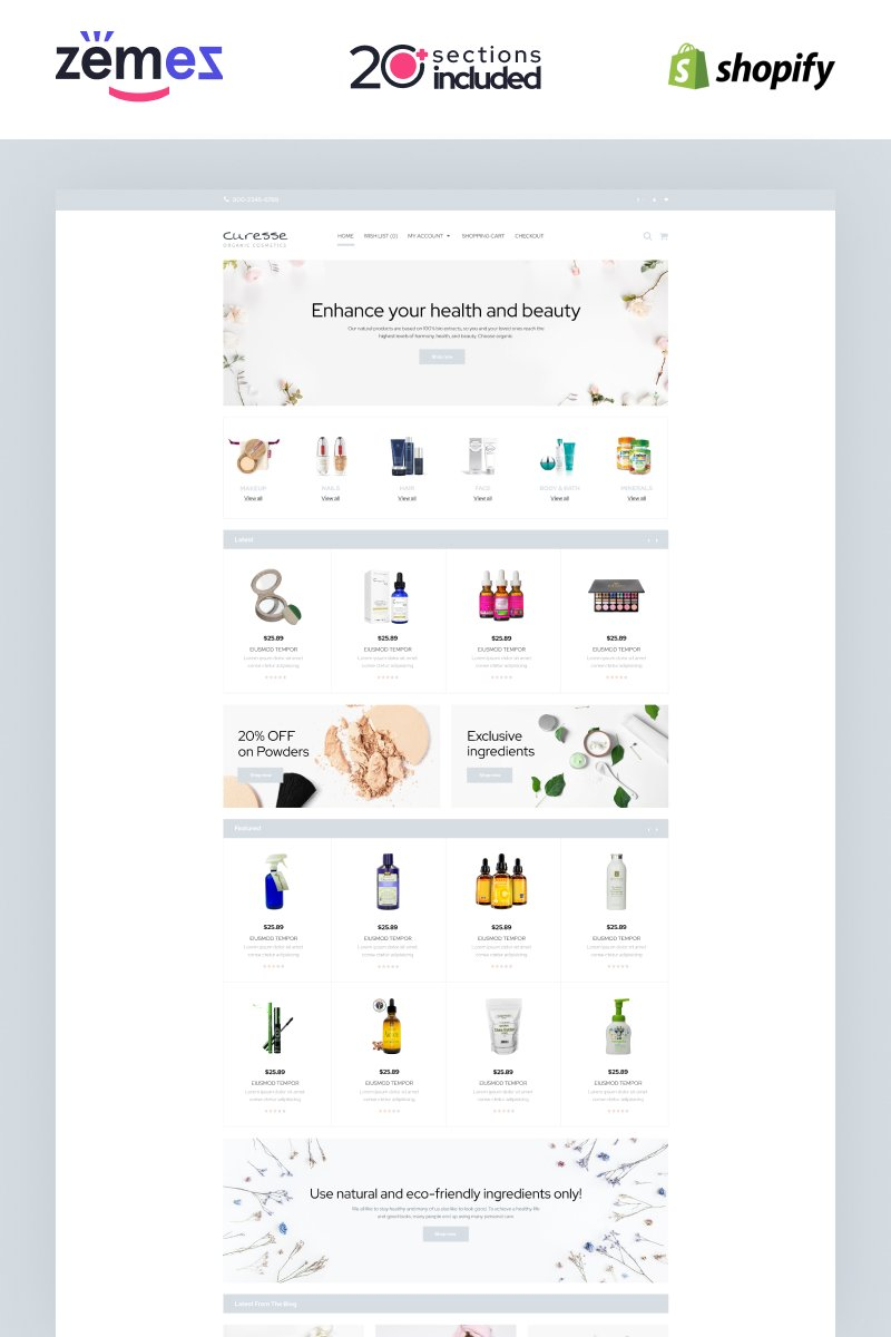 """Curesse - Spa Cosmetics Store"" Shopify Thema №87510"