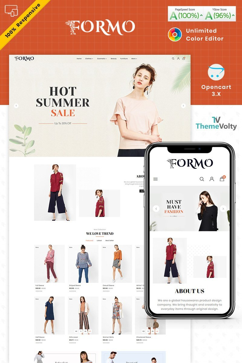 """Formo Fashion Store"" Responsive OpenCart Template №87516"
