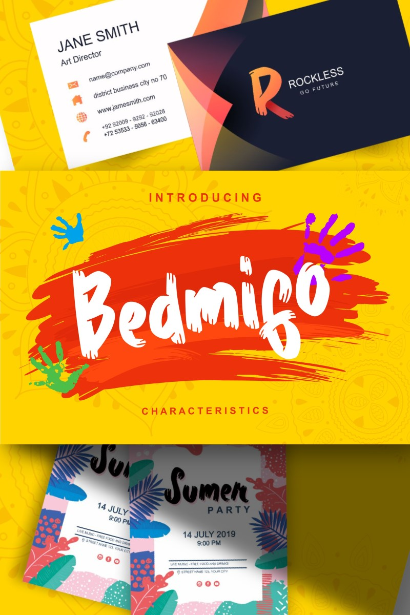 "Fuente ""Bedmifo | Characteristics Script"" #87581"