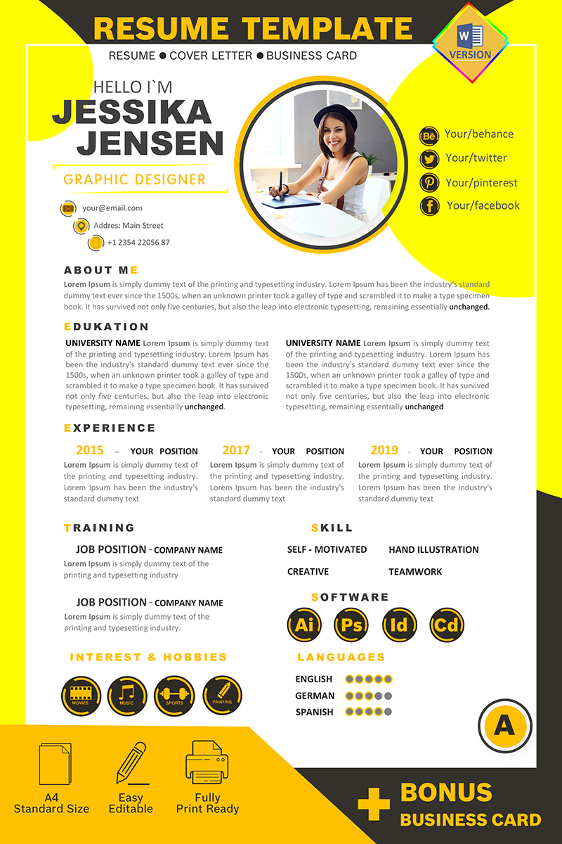 Jessika Jensen Graphic Designer Önéletrajz sablon 87575