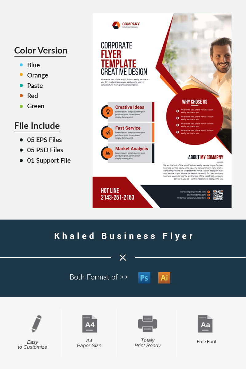 """Khaled Business Flyer"" Premium Bedrijfsidentiteit template №87508"