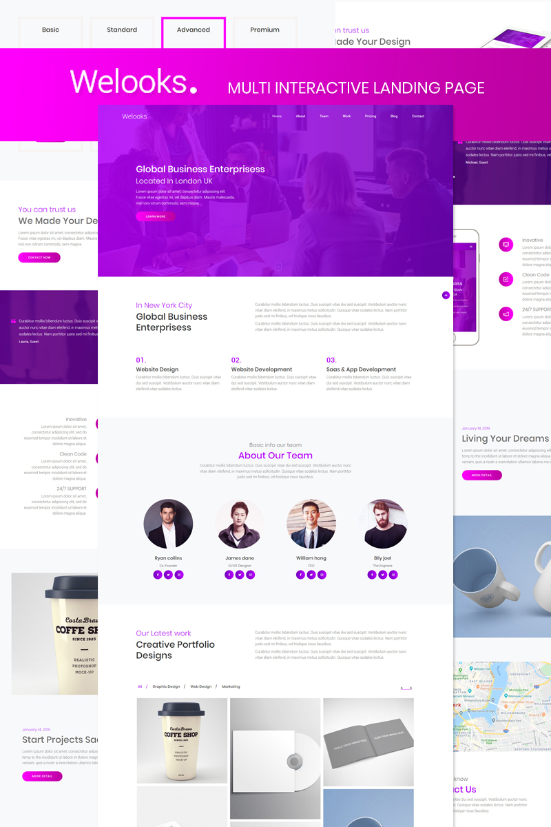 "Landing Page Template namens ""Welooks - Multi Interactive"" #87515"