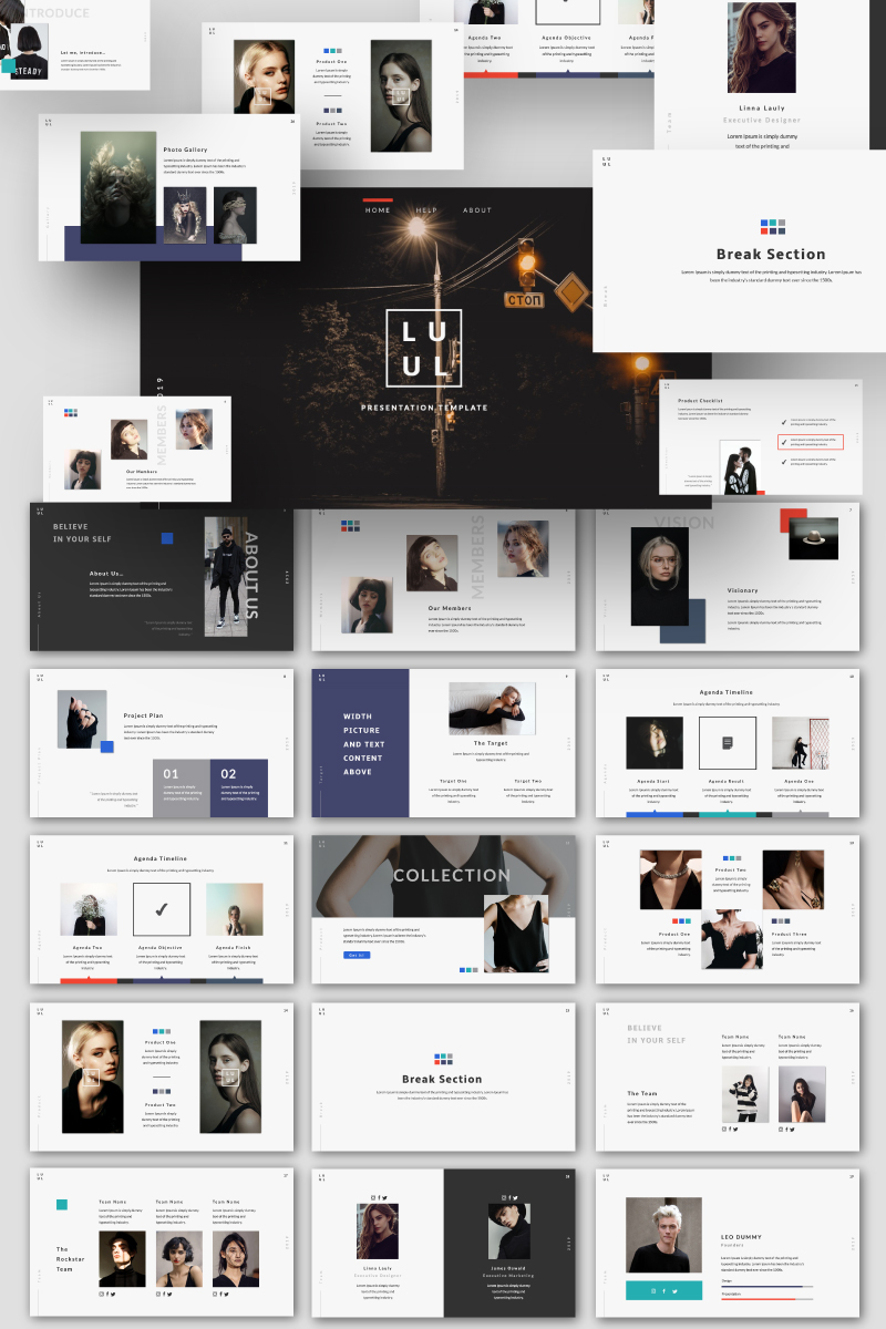 """Lulu Creative"" PowerPoint Template №87591"