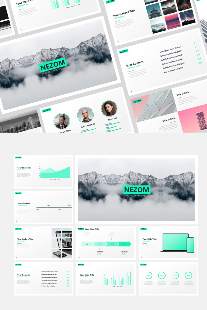 """Nezom"" PowerPoint Template №87595"