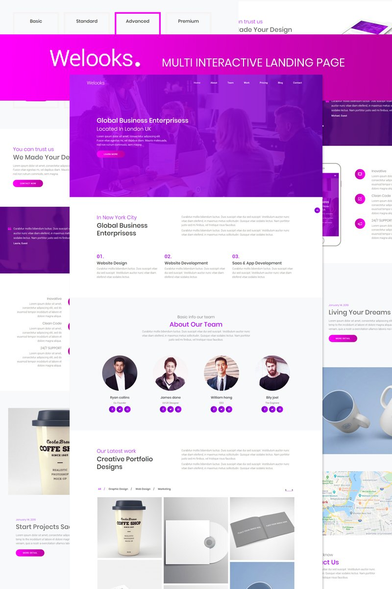 Responsivt Welooks - Multi Interactive Landing Page-mall #87515
