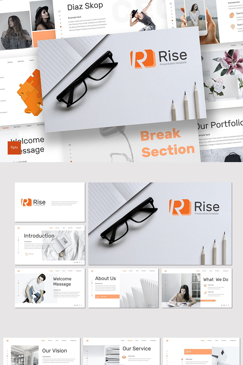 """""""Rise"""" PowerPoint Template №87597"""