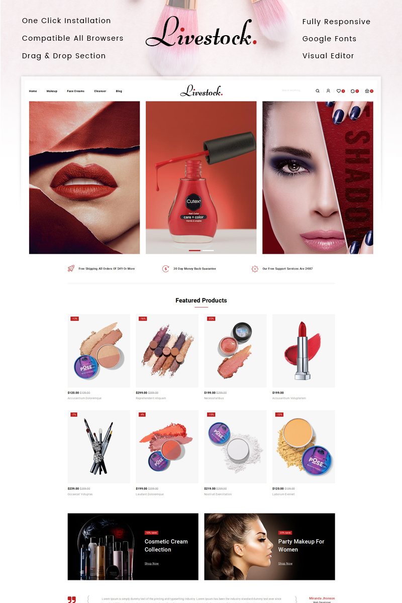 "Tema Shopify ""LiveStock Cosmetic Store"" #87514"