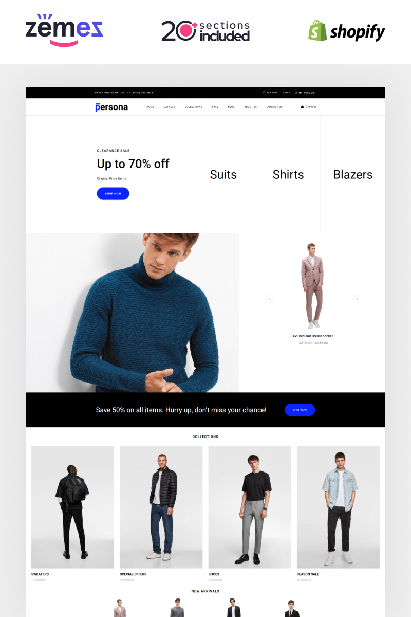 "Tema Shopify ""Persona - Stylish Men Clothes Store"" #87586"
