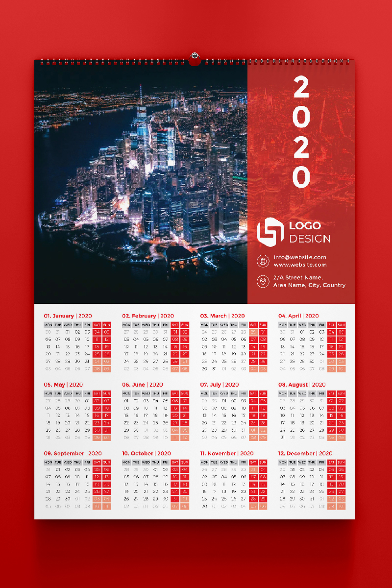 """Template di Identità Aziendale #87568 """"One Page Calendar 2020"""""""