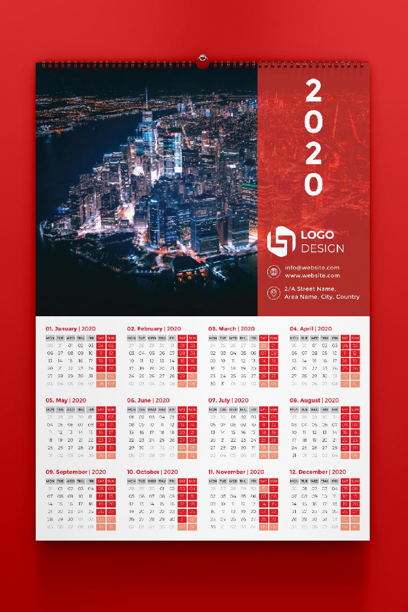 """Unternehmensidentität Vorlage namens """"One Page Calendar 2020"""" #87568"""
