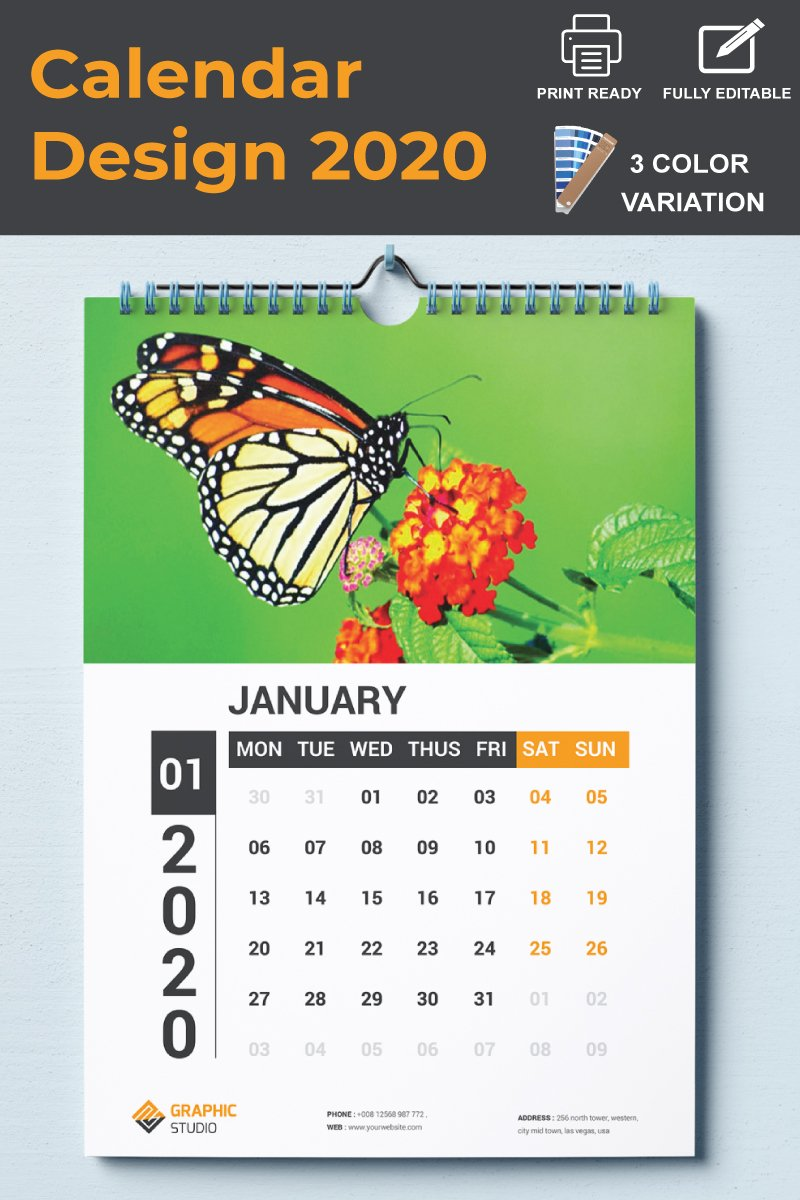 """Unternehmensidentität Vorlage namens """"Wall Calendar 2020"""" #87501"""