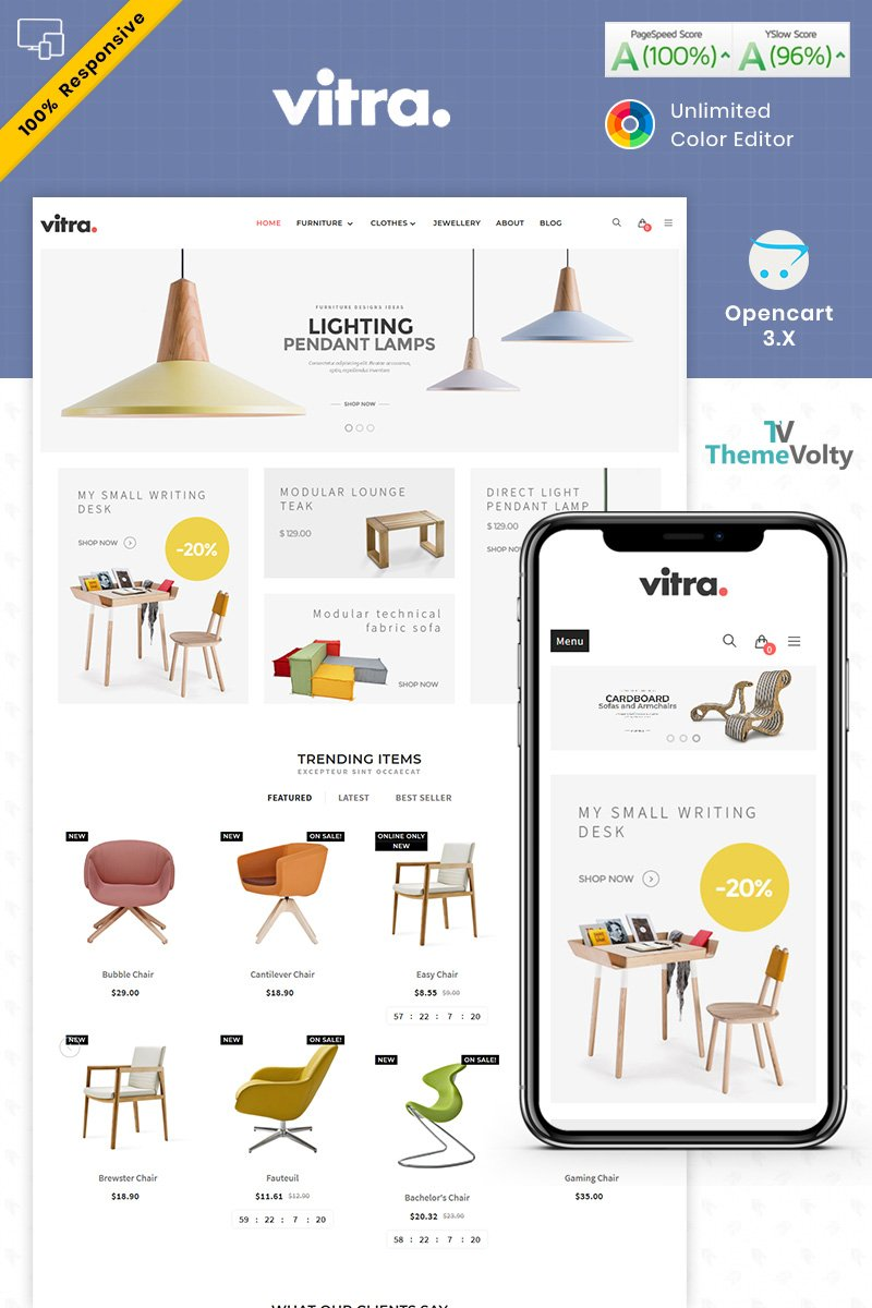 """Vitra Furniture"" Responsive OpenCart Template №87513"