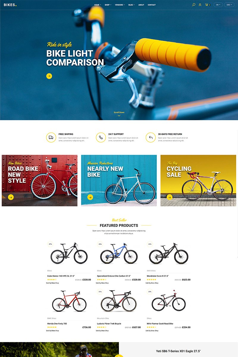 """Bikes - Shop"" WooCommerce模板 #87672 - 截图"