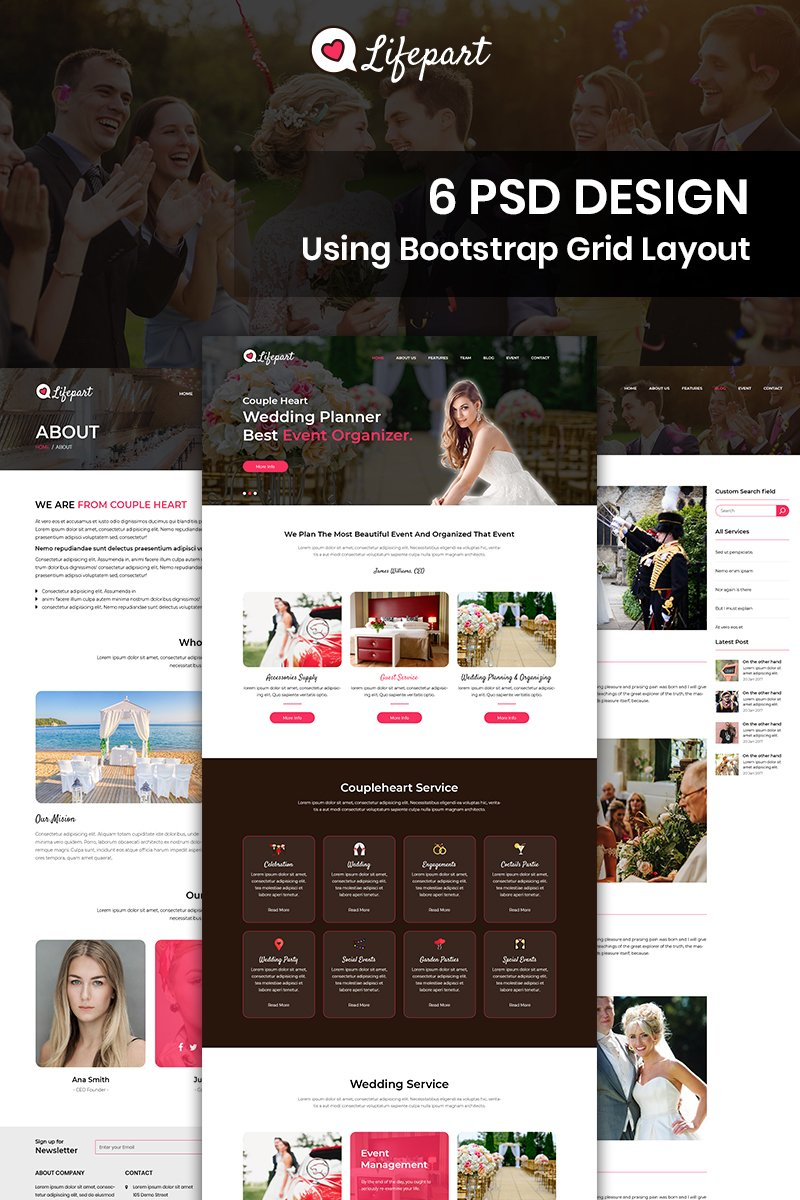 Bootstrap Lifepart - Event Management PSD sablon 87675