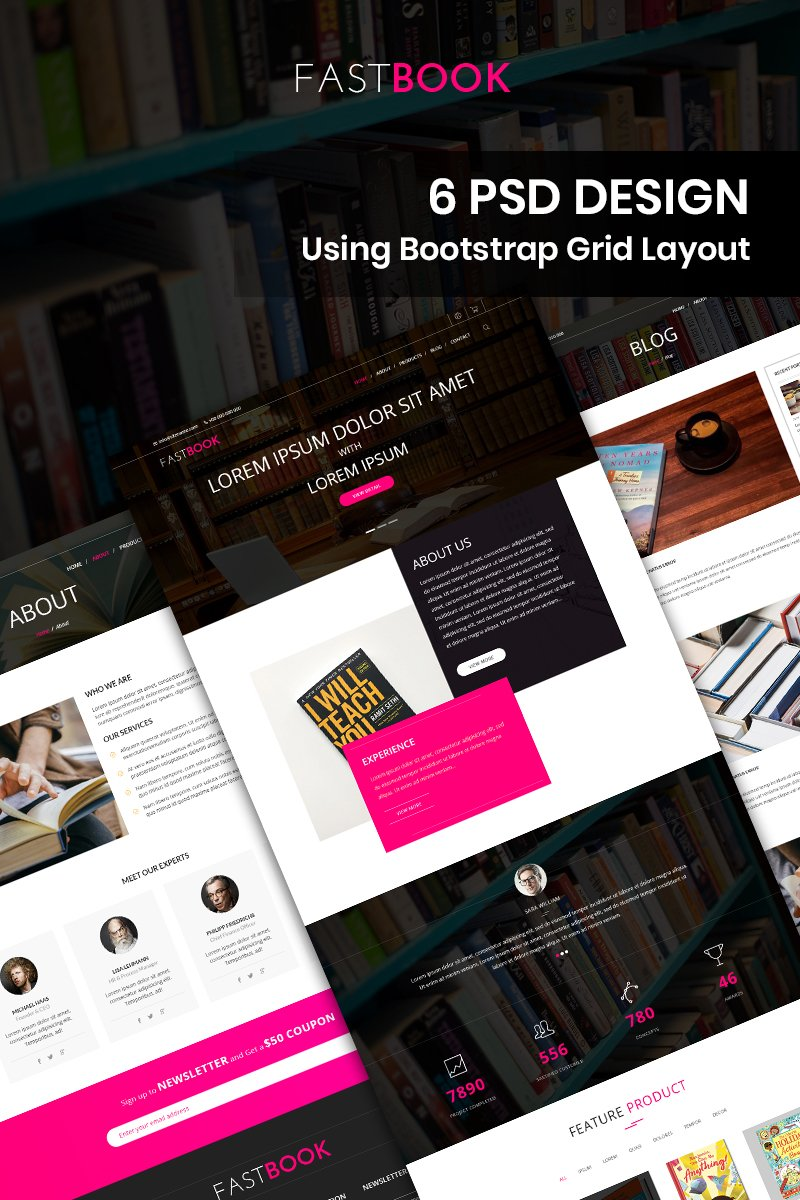 "Bootstrap PSD šablona ""Fastbook - Book Store"" #87679"