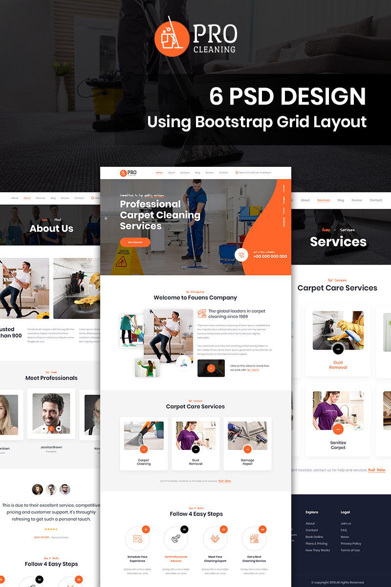 Bootstrap szablon PSD Pro Cleaning - Cleaning #87680