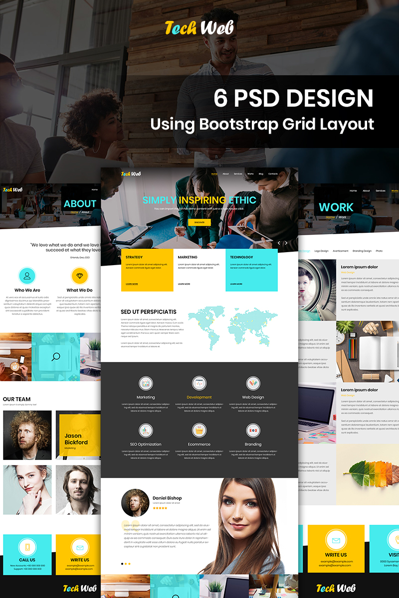 Bootstrap Tech Web - Web Design Company PSD-mall #87673