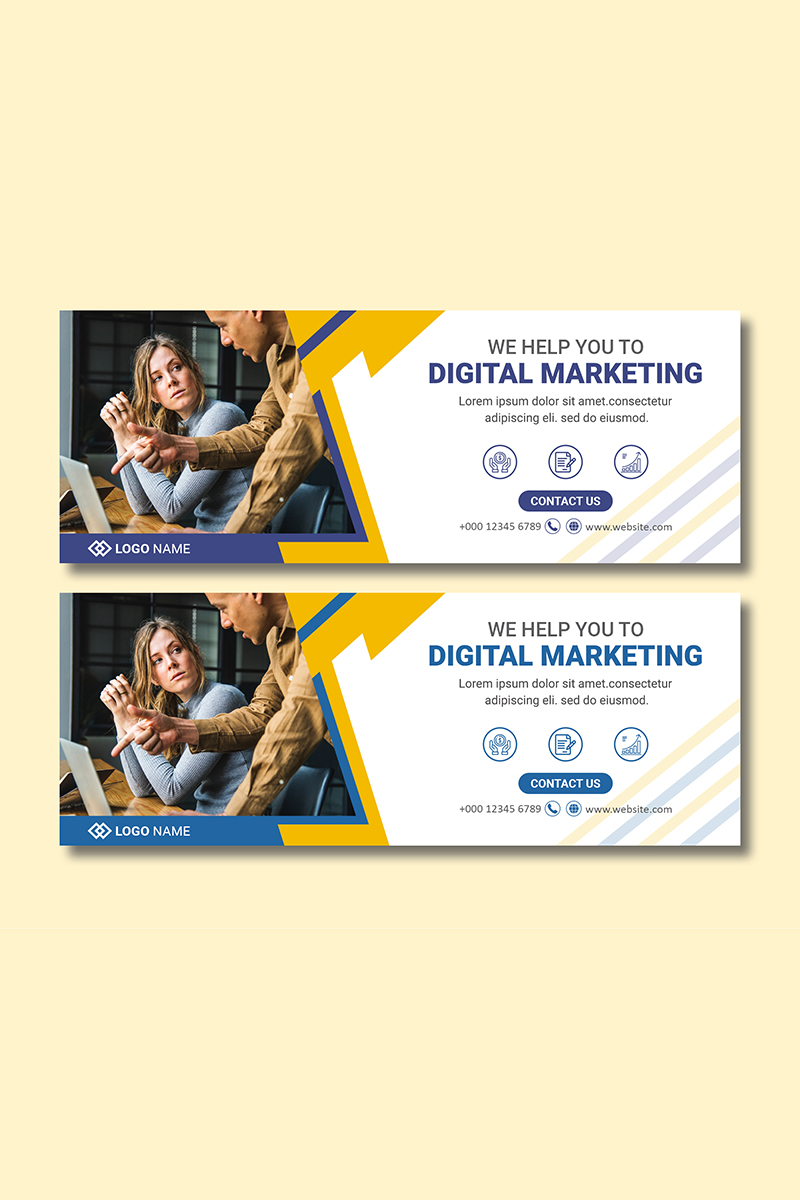 Business marketing cover template Mídia Social №87670