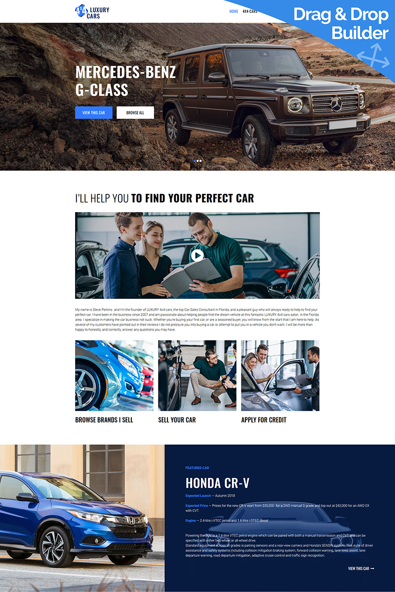 """Car Salesman"" Responsive Moto CMS 3 Template №87689 - screenshot"