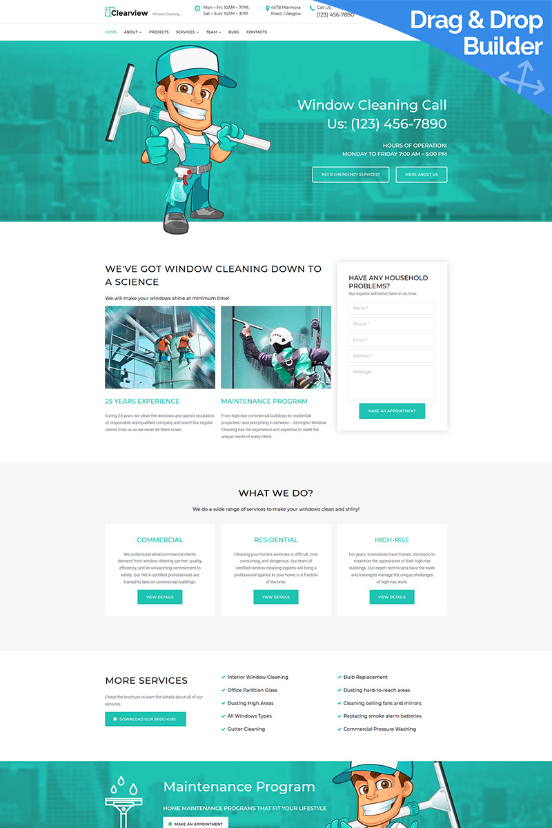 Clearview - Window Cleaning Moto CMS 3 Template