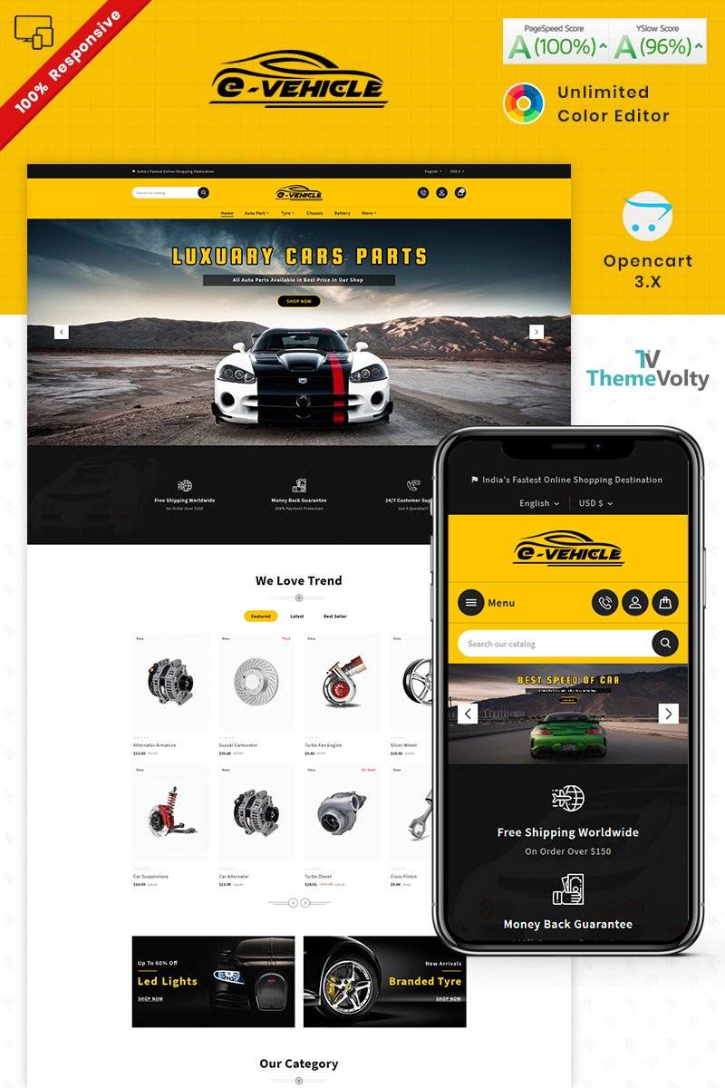 """E Vehicle Auto Part Tools Shop"" Responsive OpenCart Template №87662"