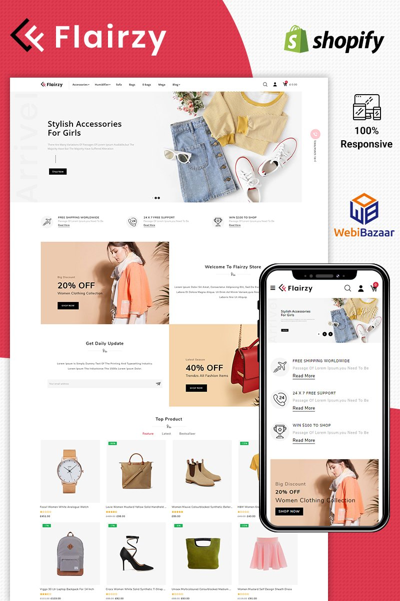 """Flairzy Fashion"" Responsive Shopify Thema №87663"