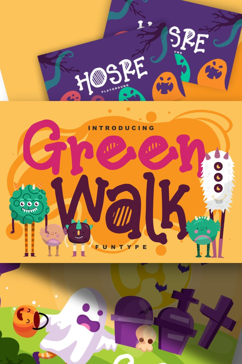 Green walk | Decorative Fun Type Font - screenshot