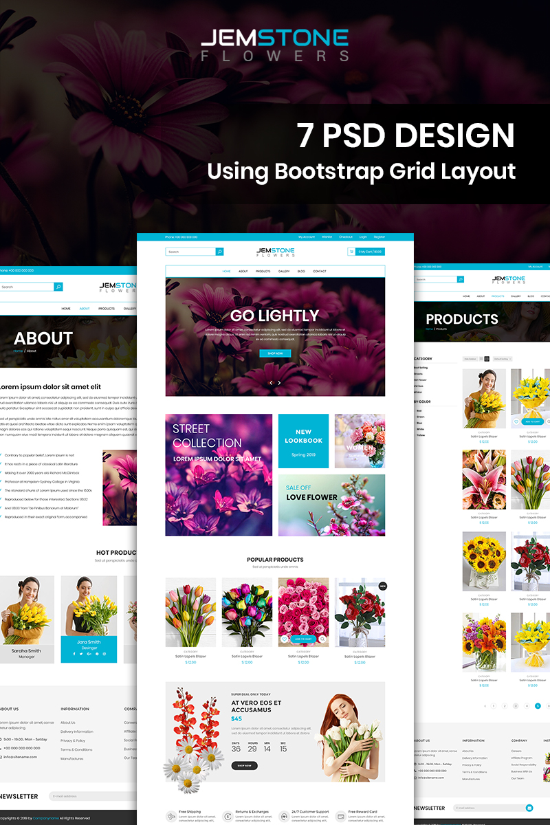 """Jemstone Flowers - Flowers Store"" PSD Template №87678"