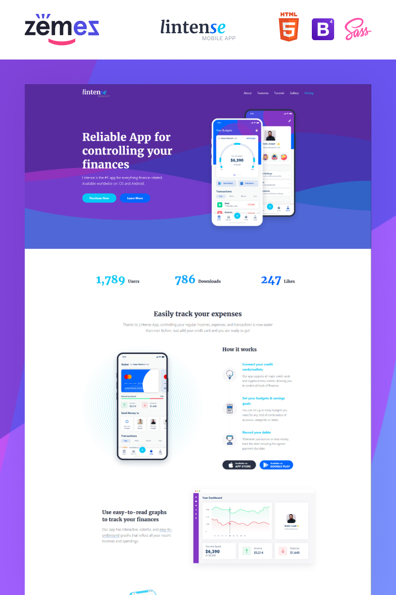 "Landing Page Template namens ""Lintense Mobile App - Software Creative HTML"" #87644"