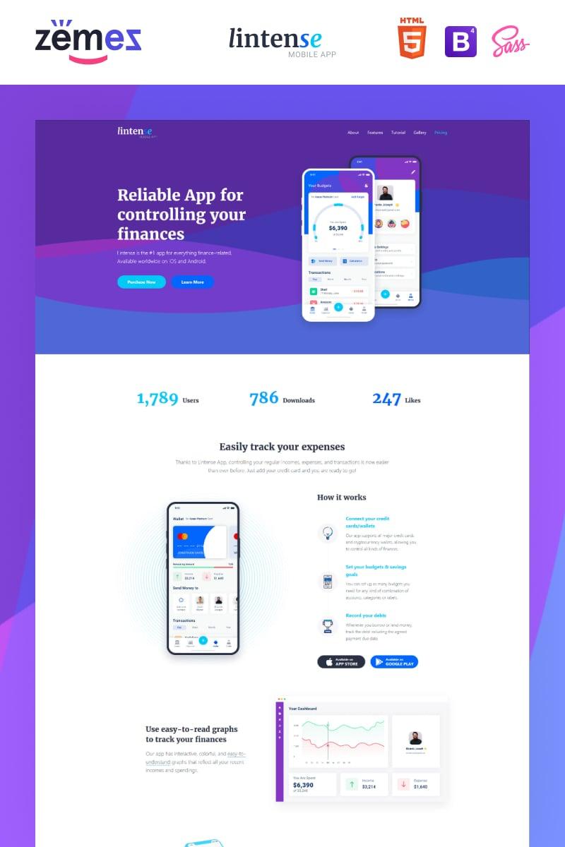"""Lintense Mobile App - Software Creative HTML"" - адаптивний Шаблон цільової сторінки №87644"