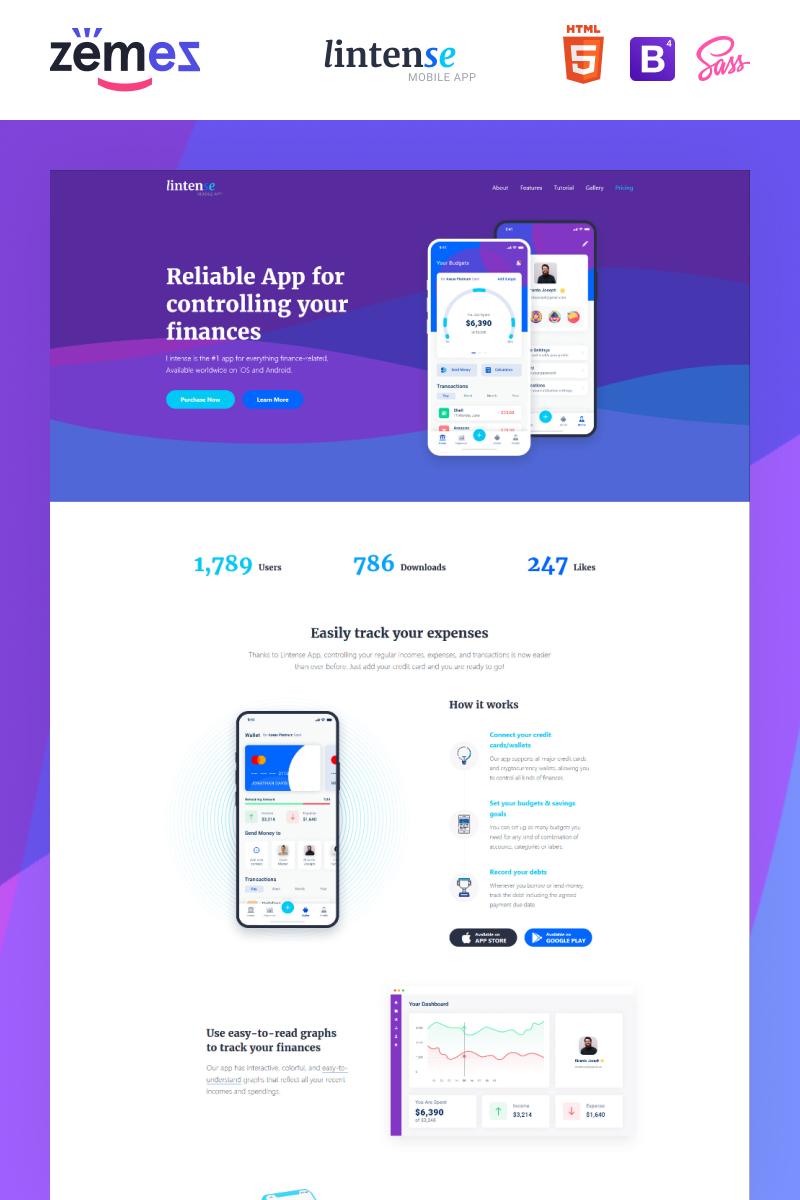 """Lintense Mobile App - Software Creative HTML"" 响应式着陆页模板 #87644"