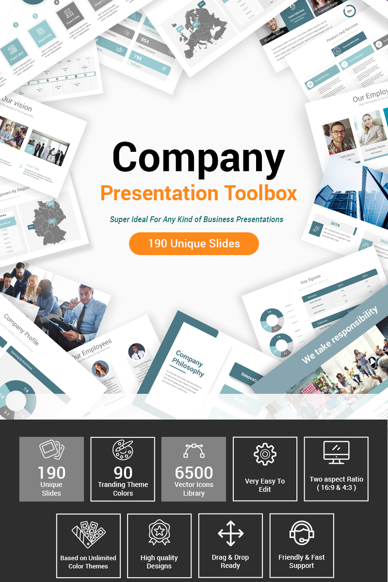 "Luxusní PowerPoint šablona ""Company Presentation Toolbox"" #87603 - screenshot"