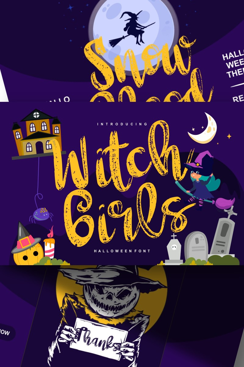 "Modello Font #87653 ""Witch girls | Script Halloween"""