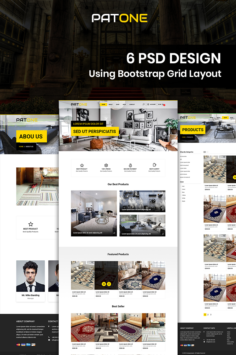 """Patone - Carpet Store"" Bootstrap PSD Template №87676"