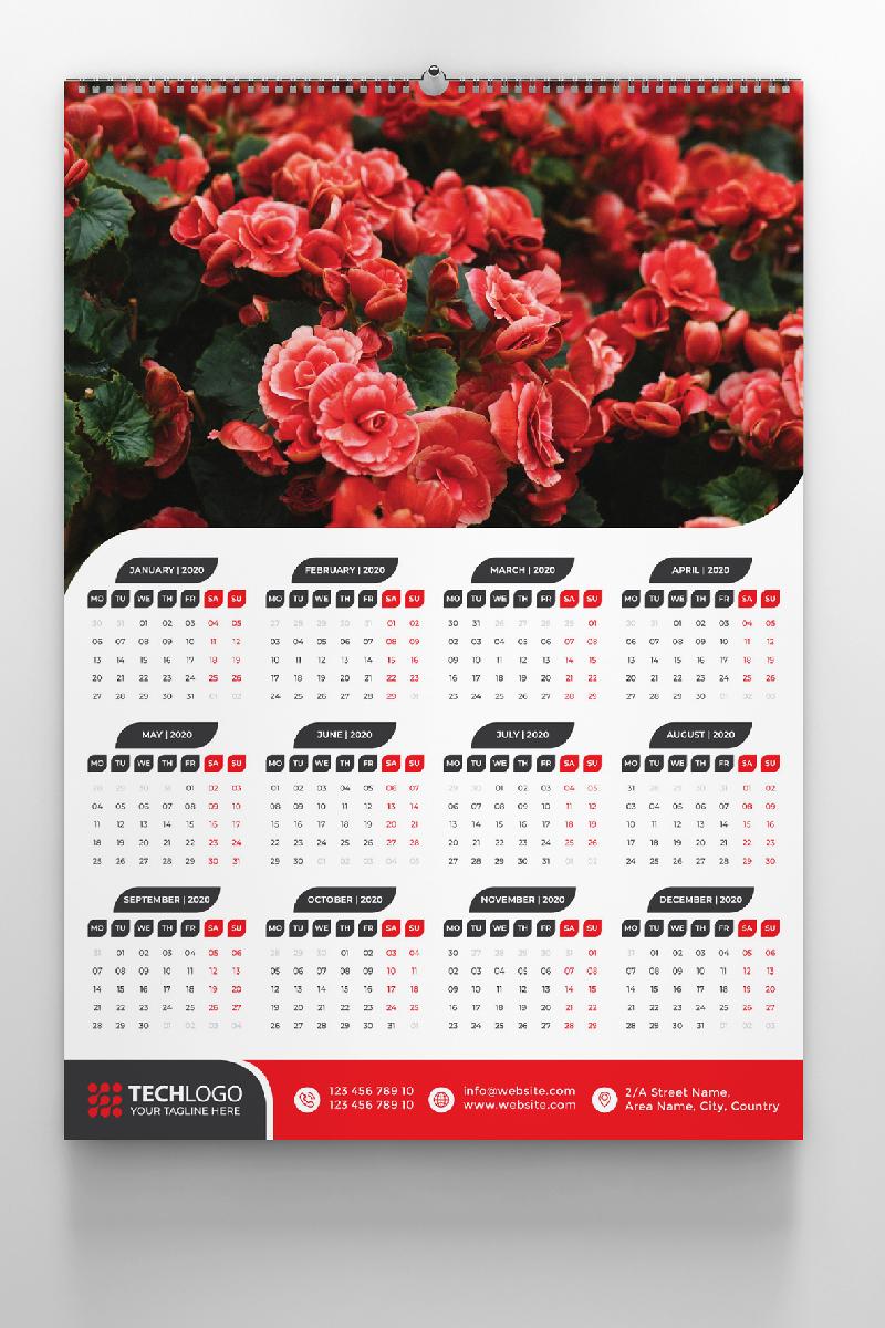 """Plantilla De Identidad Corporativa """"One Page Calendar 2020"""" #87682"""