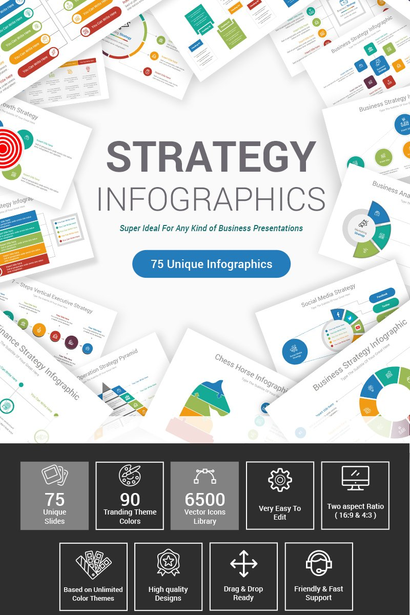 "Plantilla PowerPoint ""Strategy Infographics"" #87605"