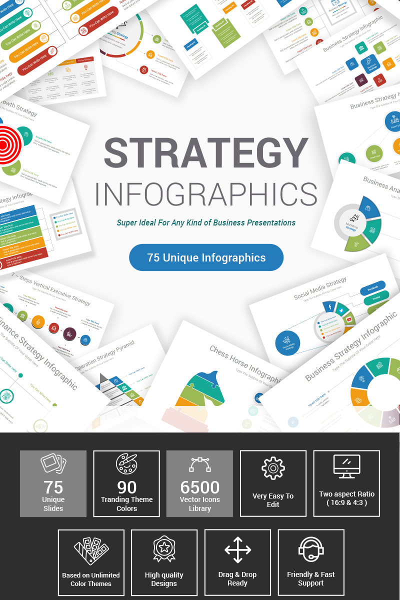 "PowerPoint šablona ""Strategy Infographics"" #87605"