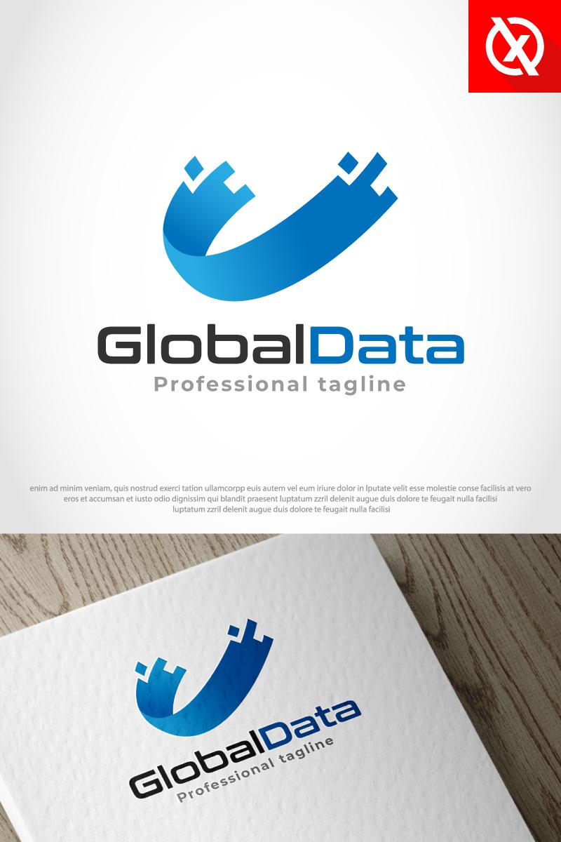 Prémium Abstract Global Data Logó sablon 87693
